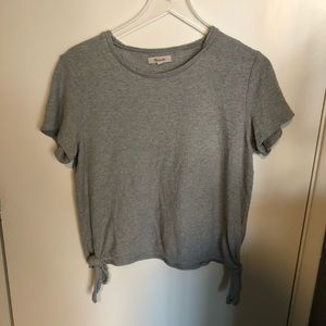 Madewell grey top with tie details on sides